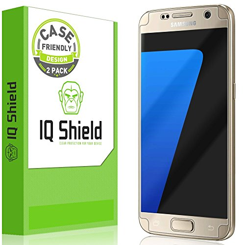 (Galaxy S7 Screen Protector, IQ Shield LiQuidSkin (2-Pack Case Friendly) Full Coverage Screen Protector for Galaxy S7 HD Clear Anti-Bubble Film)