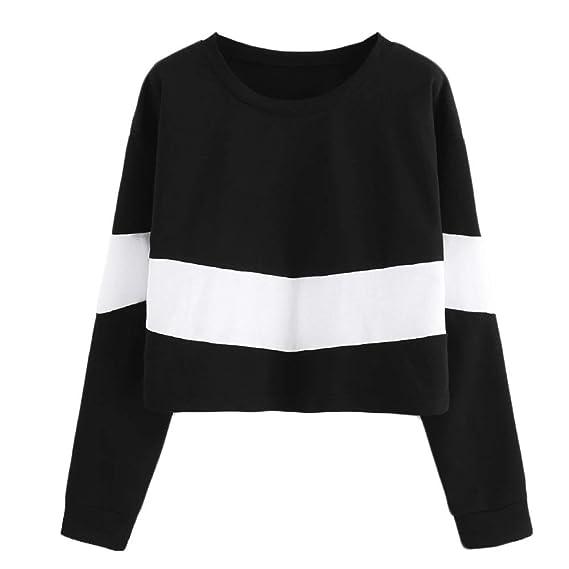ALIKEEY Harrystore Fashion Longsleeve Mujeres De Cuello Redondo Crewneck Girls Sweatshirt Tops De Blusa Corta Camisa De: Amazon.es: Ropa y accesorios