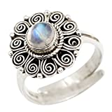 Luna Azure Vintage Round Rainbow Moonstone 925 Sterling Silver Handmade Carve Patterns Ring Women Girls Gift Present Jewelry