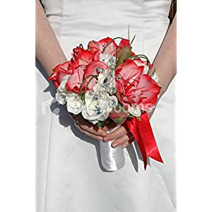 White & Red Amaryllis Artificial Small Bridal Wedding Bouquet 111