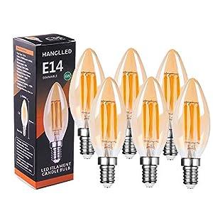 Lampadine LED E14 Dimmerabile 6W, HANCLLED E14 C35 Luce Bianca Calda Vintage Edison Filamento Candela Lampadina a LED… 10 spesavip