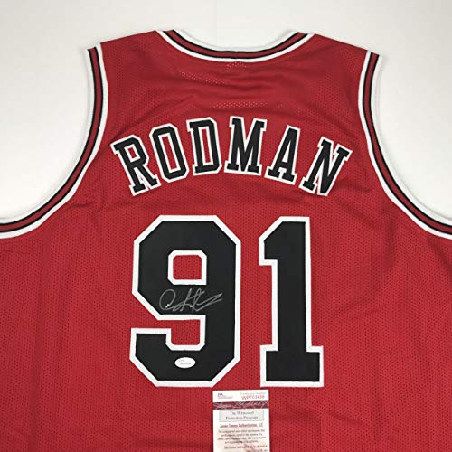 06a403df5cc Autographed Signed Dennis Rodman Chicago Red Basketball Jersey JSA COA