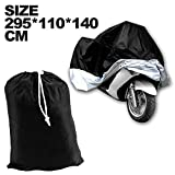 GenLed XXXL Motorcycle Motorbike Water Resistent Waterproof Rain UV Protective Breathable Motor Cover for Yamaha harley-davidson Outdoor Indoor Black Silver Extra Extra Extra Larger + storage bag