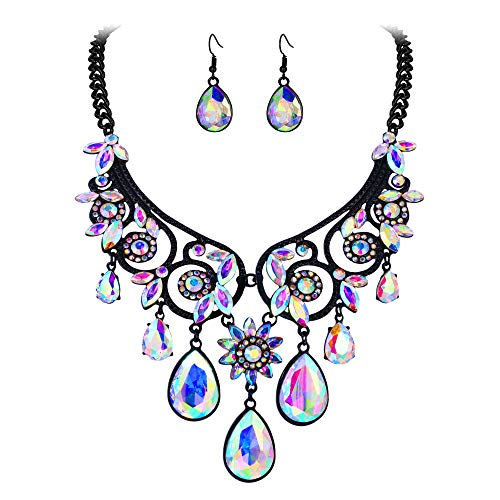 - BriLove Women's Tribal Ethnic Crystal Chunky Statement Necklace Dangle Earrings Set Iridescent AB Black-Tone