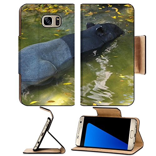 Liili Premium Samsung Galaxy S7 EDGE Flip Pu Leather Wallet Case tapir wild adult male in river corcovado national park costa rica IMAGE ID - Meadows Mal Park