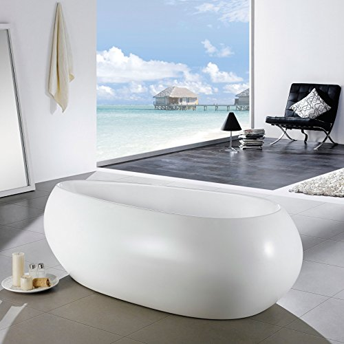 MAYKKE Castile 71 Inches Modern Oval Light Acrylic Bathtub Easy to Install Freestanding White Soaker Tubs for Bathroom cUPC certified, XDA1405001 (Tub Soaker Freestanding Collection)