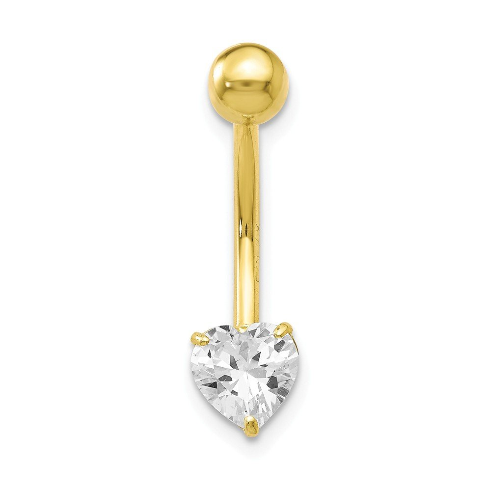10k Yellow Gold With 6x6 Heart Belly Ring Dangle by JewelryWeb