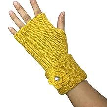 Aeneontrue Women's Floral Design Winter Warm Knitted Fingerless Gloves Arm Warmers