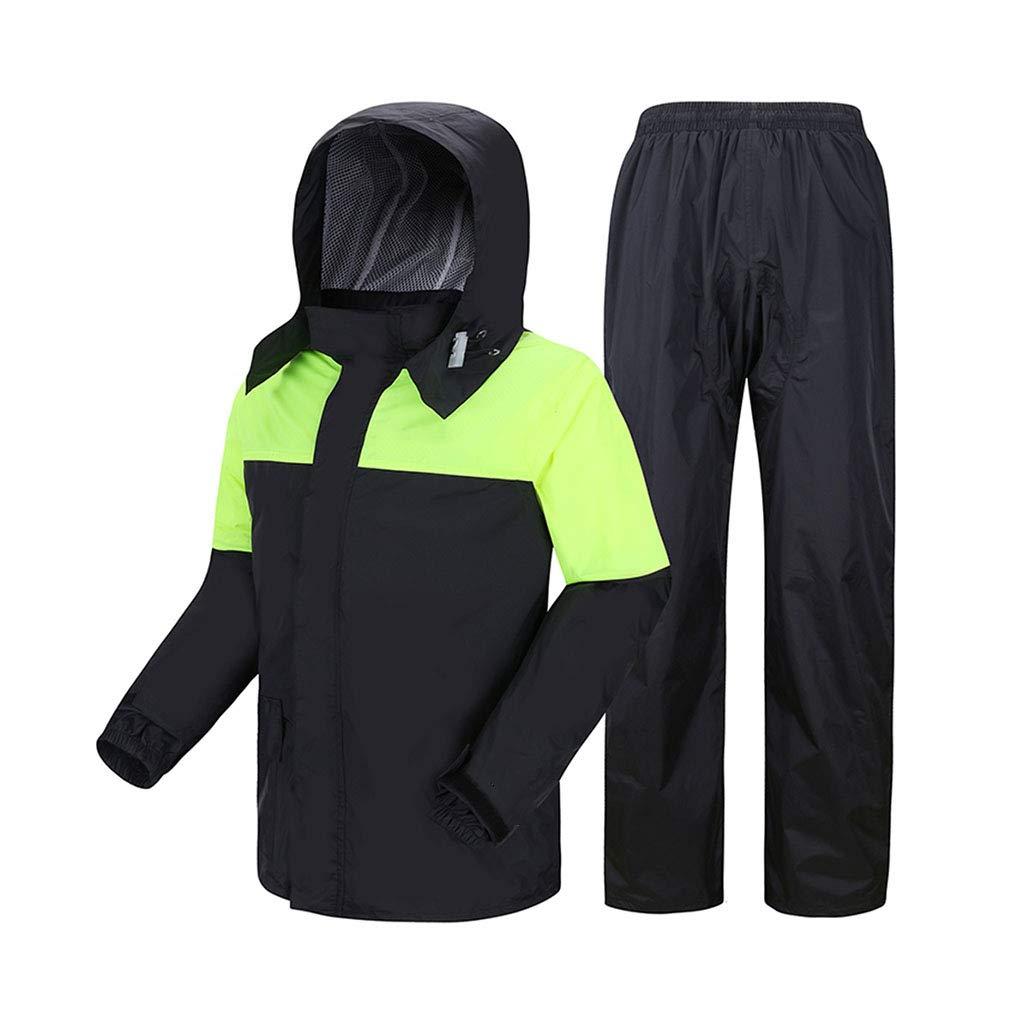 LYP-Rainwear Regenmantel Herren Regenmantel Set 2-teiliges Set (Tops + Regenhosen) Erwachsene wiederverwendbar Geteilte Wasserdichte Kapuze Poncho Outdoor-Motorradwandern