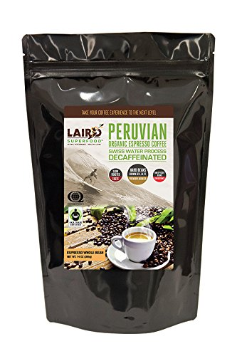 Laird Superfood Organic Whole Bean Coffee | Espresso Roast | Swiss Water Processed Decaf - 14 (Swiss Espresso Coffee)