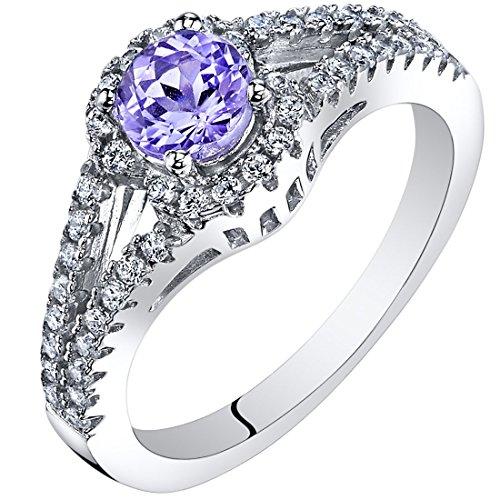 Peora Tanzanite Gallery Ring Sterling Silver 0.50 Carat Size 7