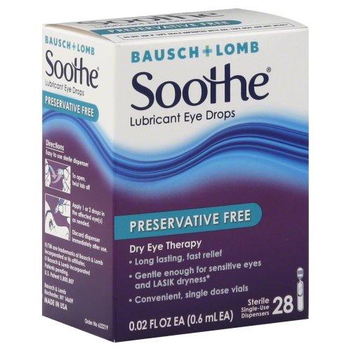 Gouttes apaiser sans conservateur oculaires lubrifiantes par Bausch & Lomb, paquet de 28