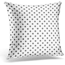 Kjalioeig-Throw Cushion Pillow Covers Mini Hollow Black Rhombuses Tessellation on White Pattern Design with Diamonds Checkered Grid Geometric Comfortable material Size: 18x18 Inch