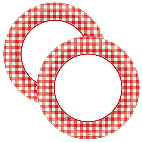 Amscan Disposable Classic Picnic Red Gingham Border Round Plates Party Tableware, 80 Pieces, Made from Paper, Picnic and Barnyard Party Theme, ()