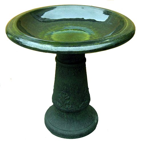 Exaco FM-0203G Endura Clay Florentine Marbleized Birdbath, Green