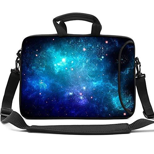 HAOCOO 13 13.3 inch Laptop Shoulder Bag Water-Resistant Neoprene Computer Case Sleeve with Handle Adjustable Shoulder Strap and External Side Pocket for MacBook/HP/Acer/Asus/Dell,Blue Galaxy Sky ()