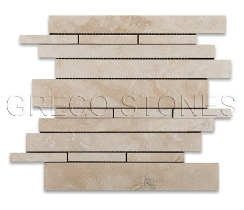 Ivory (Light) Travertine Random Strip Mosaic Tile, Honed - Half Sheet ()