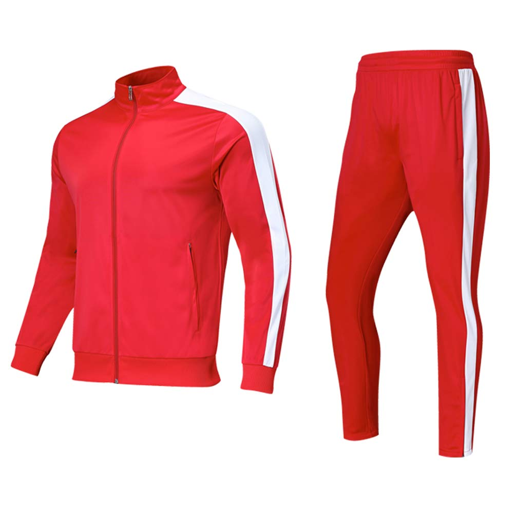 Shinestone Men's Sport Casual Tracksuit Warm Up Tracksuit Gym Training Wear (Red, X-Large) by Shinestone