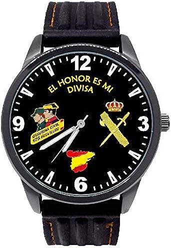 Reloj G&B Guardia Civil Esfera Negra Correa Caucho: Amazon.es: Relojes