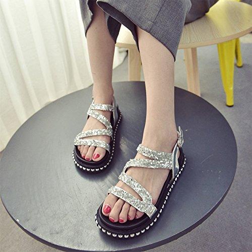CHANCLAS SANDALS Versión coreana de las sandalias de las señoras del verano de los zapatos romanos del estudiante del diamante elegante ( Color : Blanco , Tamaño : EU36/UK3.5/CN35 ) Blanco