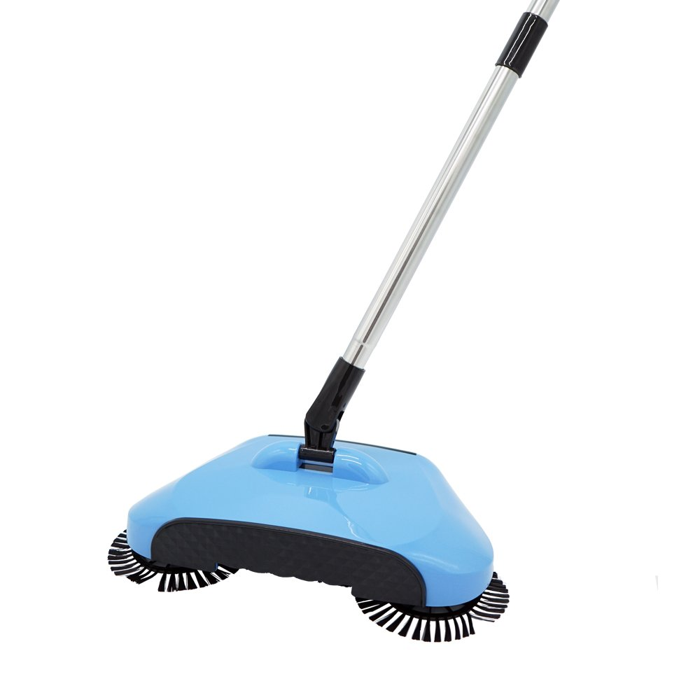 SUNKY Lazy Automatic Hand Sweeper, Rotating Push-Type Scanner Household Sweeping Without Electricity Vacuum Cleaner Dustpan Trash Bin Hard Floor Cleaner - Blue