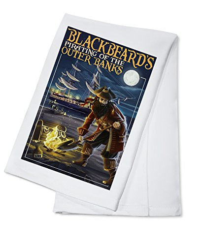 Outer Banks, North Carolina - Blackbeard Pirate and Queen Anne's Revenge (100% Cotton Kitchen Towel)
