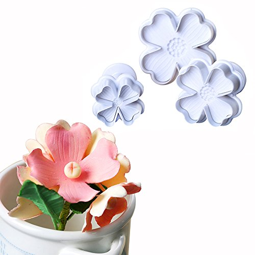3-Pieces Four Petal Flower Plunger Cookie Cutter Molds Fondant Sugarcraft Cake Cupcake Toppers Decorating Tool DIY Mold