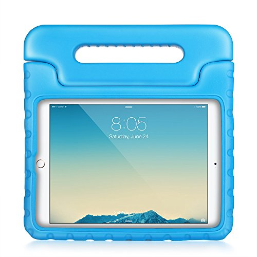 TNP iPad Air 2 Case - Kids Shock Proof Soft Light Weight Childproof Impact Drop Resistant Protective Stand Cover Case with Handle for Apple iPad Air 2 (2nd Generation 2014) (Blue)