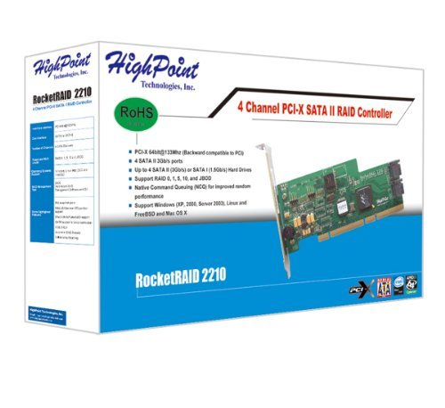 HighPoint RocketRAID 2210 4-Channel PCI-X SATA 3Gb//s RAID Controller Consumer Electronics Store PTRB-220092287