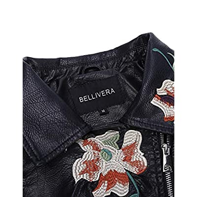Bellivera Women's Faux Leather Casual Short Jacket,Moto Floral Coat with 2 Pocket: Clothing