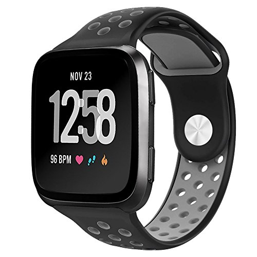 NO1seller Top Fitbit Versa Bands for Women Men Small Large, Soft Silicone Sport Strap Replacement with Ventilation Holes for Fitbit Versa Fitness Smart Watch (Black/Gray, Small:5.5-6.7)