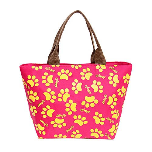 (iLXHD Canvas Little Feet Pattern Lunch Bag Women Tote Bag Insulated Lunch Box Thermal Soft for Women/Picnic/Boating/Beach/Fishing/School/Work)