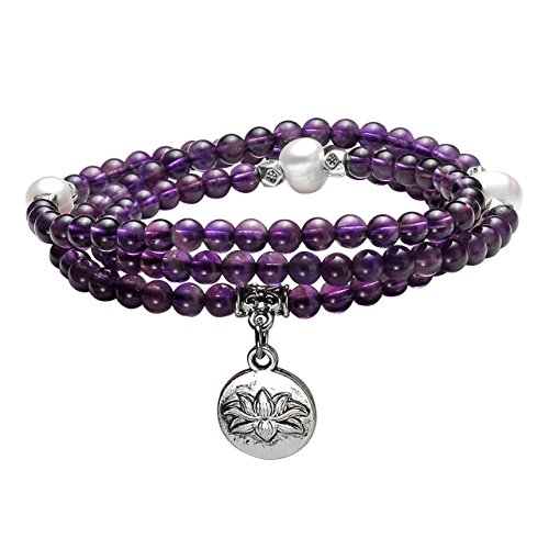 Top Plaza 4mm Tibetan Buddhist Natural Amethyst Pearl Healing Crystal Gemstone 108 Mala Prayer Beads Stretch Bracelet Necklace with Lotus ()