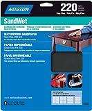 Norton 48090 Sand Wet Sandpaper 220 Grit, 9-Inch x 11-Inch, 5-Pack