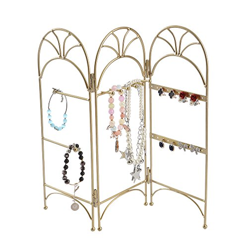 Modern Gold Metal 3 Panel Trellis Folding Jewelry Hanger Organizer for Bracelet, Earrings, Necklace