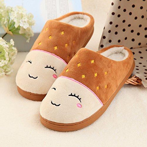 Inverno fankou paio di pantofole di cotone femmina spessa coperta calda antiscivolo home soggiorno pantofole uomini e ,39-40,M83 Caffè