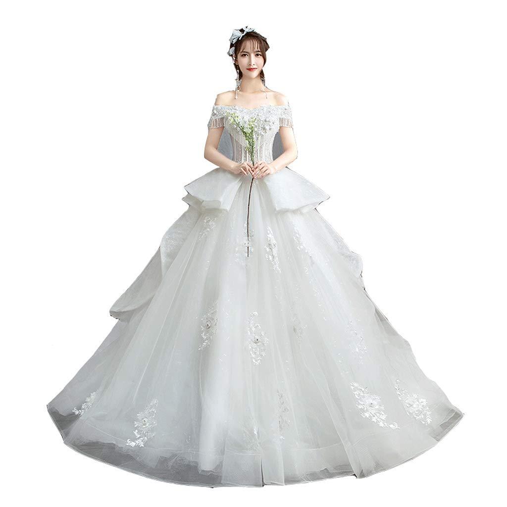 White Wedding Dress Large Size Wedding Dress OneShoulder Wedding Dress Simple Sleeve Wedding Dress (Size   XL)