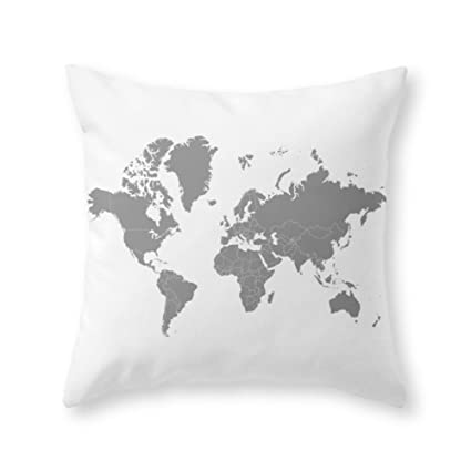 Amazon sea girl soft minimalist world map gray on white sea girl soft minimalist world map gray on white background throw pillow indoor cover pillow case gumiabroncs Gallery