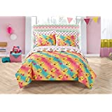 7 Piece Colorful Emoji Pals Motif Bed In A Bag Set Queen Size, Featuring Hearts Kiss Peace Sign Design Comfortable Bedding, Contemporary Playful Novelty Girls Kids Bedroom, Blue, Yellow, Pink, Multi