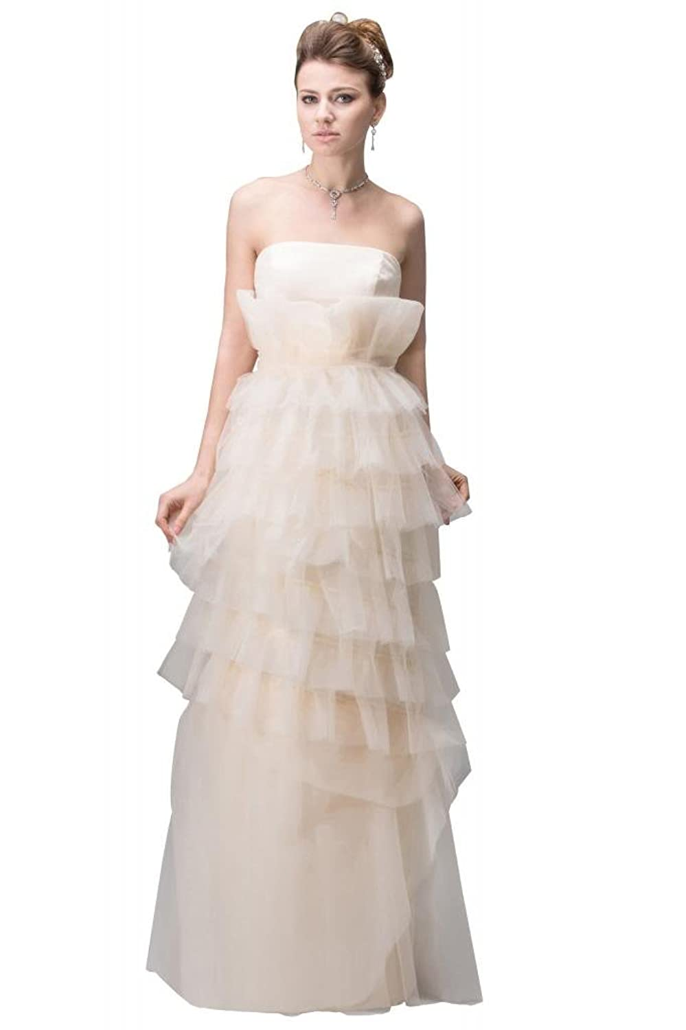 GEORGE BRIDE Strapless Floor-length Party Gown with Layered shirt