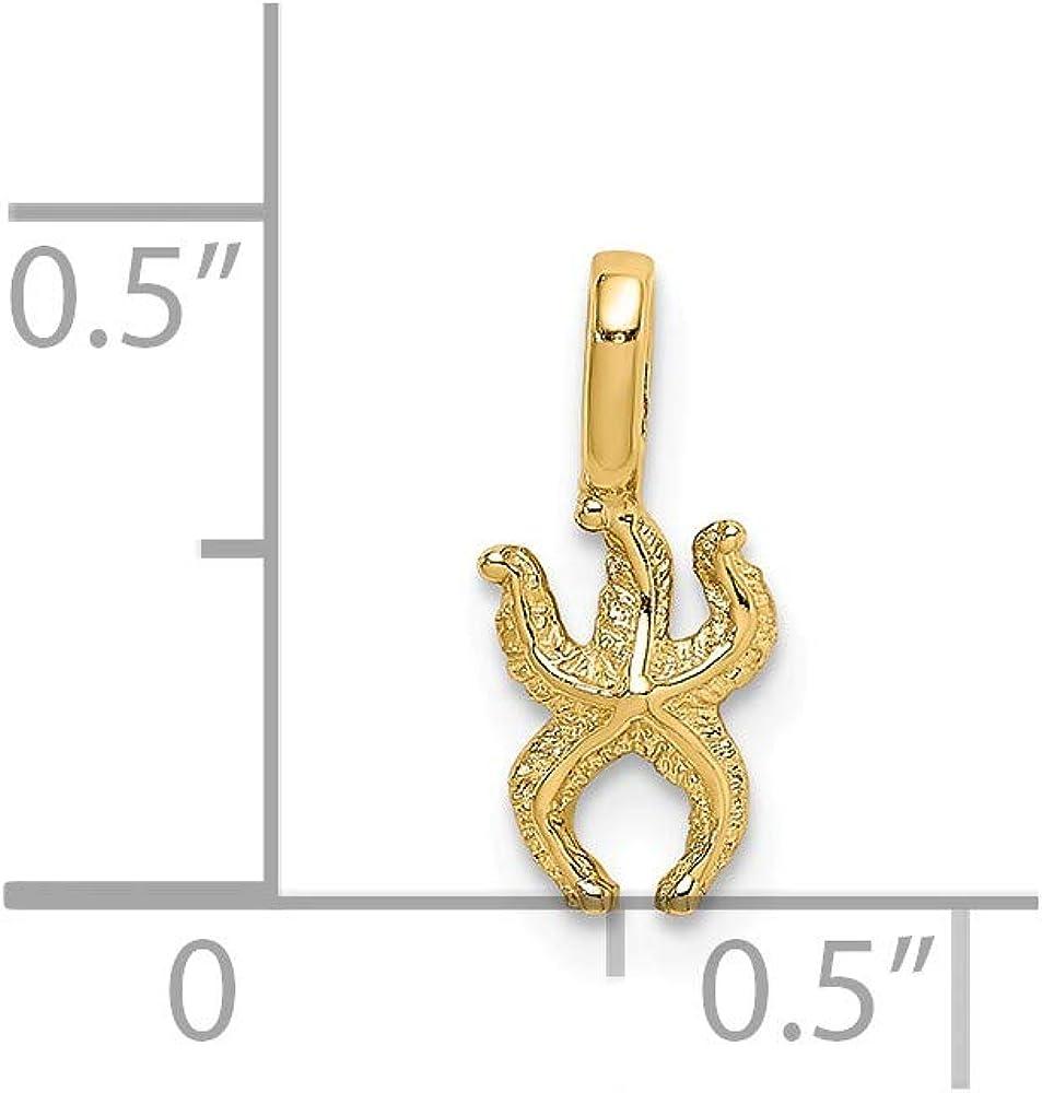 FB Jewels 14K Yellow Gold Mini Starfish with Fixed Bail Pendant