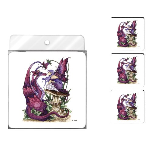 Tree-Free Greetings NC37585 Amy Brown Fantasy 4-Pack Artful Coaster Set, The Staring Contest Fairy and Dragon