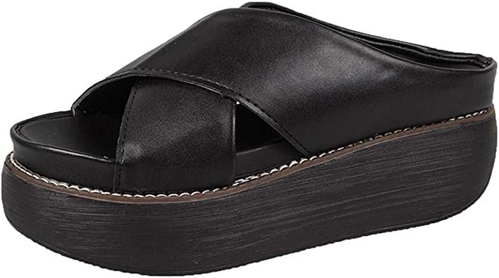 Damen Keilabsatz Sandalen High Heels Plattform Pantoffel Flip Flops Sommer