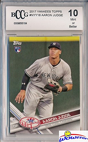 Aaron Judge 2017 Topps New York Yankees Baseball ROOKIE Card Graded HIGH BECKETT 10 MINT! Amazing HIGH GRADE ROOKIE Card of Yankees Home Run Hitting Superstar! WOWZZER!