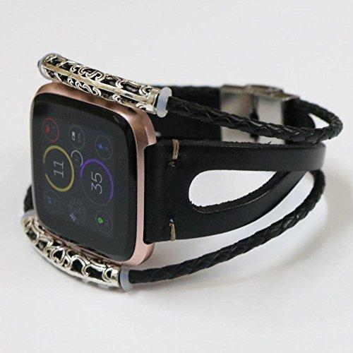 voviusリストバンドfor Fitbit Versa Watch with調節可能なハンドメイドヴィンテージファッショナブルな合金レザーブレスレット腕時計交換バンド5.5