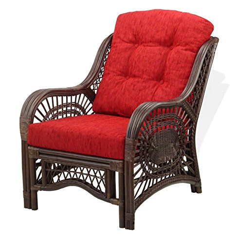 Lounge Arm Chair ECO Natural Handmade Rattan Wicker with Cushions Color Dark Brown ()