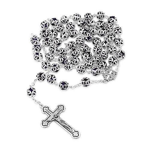 Marina Jewellery Silver and Blue Glass Necklace Rosary, Silver Plate Chain, Jerusalem Cross, Crucifix -
