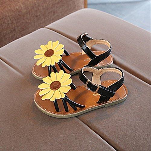 lakiolins Toddler Girls Summer Beach Sunflowers Slingback Flat Sandals Princess Dress Shoe Black Size 23 by lakiolins (Image #2)