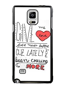 Special Custom Made Ed Sheeran Give Me Love Black Phone Case For Samsung Galaxy Note 4 Cover Case