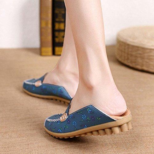 Labato Style Frauen Blumendruck Aushöhlen Driving Loafers Leder Slip auf flache Schuhe Blau